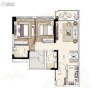 广州亚运城2室2厅2卫90平方米户型图