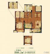 祥生悦山湖3室2厅2卫88平方米户型图