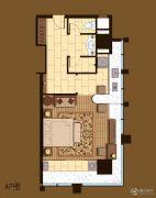 晶晖广场1室1厅1卫68平方米户型图