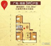 广电・观御3室2厅2卫132平方米户型图