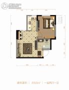 北大资源阅城1室2厅1卫53平方米户型图