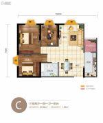 华信悦峰3室2厅1卫89平方米户型图