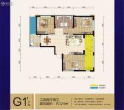 七彩云南第壹城3室2厅2卫124平方米户型图