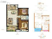 和昌悦澜2室2厅1卫87平方米户型图