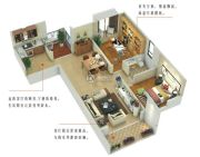 尚品爱琴海2室2厅1卫75平方米户型图