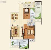 中建观湖国际2室2厅1卫89平方米户型图