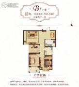 阳光国际城Ⅱ期3室2厅1卫100--101平方米户型图