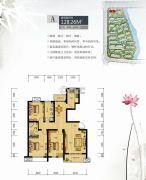 镜水蓝庭2期IN豪庭3室2厅2卫128平方米户型图