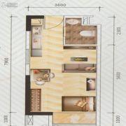 盛荟天地1室2厅1卫38平方米户型图
