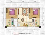 九立方国际购物中心2室2厅1卫61平方米户型图