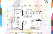 凯盛缤纷MALL3室2厅1卫80平方米户型图
