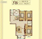 豫飞金色怡苑3室2厅2卫144平方米户型图