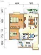 龙郡2室2厅1卫76平方米户型图