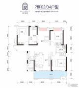 玫瑰园3室2厅2卫130平方米户型图