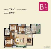 蓝光COCO蜜园3室2厅2卫75平方米户型图