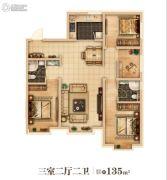 万达城3室2厅2卫0平方米户型图