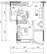保利山水城1室1厅1卫60平方米户型图