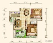 建联・香颂湾2室2厅1卫74平方米户型图