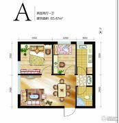 高远时光城2室2厅1卫65平方米户型图