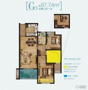 路劲・诺丁山3室2厅1卫87平方米户型图