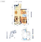鸿潮宝来华府2室2厅1卫85平方米户型图