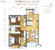 万科金域滨江3室2厅2卫106平方米户型图