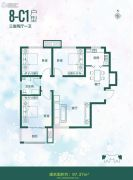 全都城-悦府3室2厅1卫97平方米户型图
