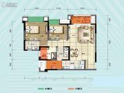 旭阳台北城敦美里3室1厅2卫75平方米户型图