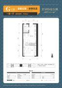 京汉铂金公寓1室1厅0卫56平方米户型图