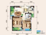 清风华园2室2厅1卫76平方米户型图