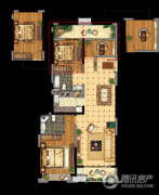 昆山万达广场3室2厅2卫121平方米户型图