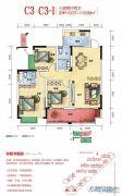 海湘城3室2厅2卫110平方米户型图