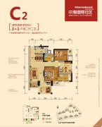 中海国际社区4室2厅2卫88平方米户型图