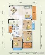 领秀一方3室2厅1卫123平方米户型图