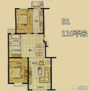 北京奥林匹克花园2室2厅1卫110平方米户型图