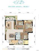 金科中央公园城3室2厅1卫89平方米户型图
