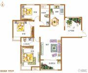 锦江城市花园3室2厅2卫134平方米户型图