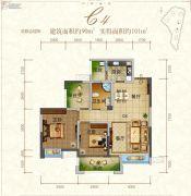 东江首府2室2厅1卫90平方米户型图