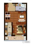 弘瑞君悦澜湾1室2厅1卫46平方米户型图