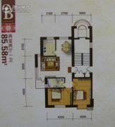 唯美品格新城二期2室2厅1卫85平方米户型图