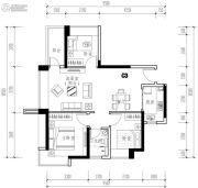 华发城建未来荟3室2厅1卫82平方米户型图