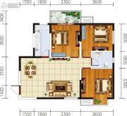 宏府�d翔九天3室2厅1卫99平方米户型图