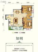 连山鼎府3室2厅1卫97平方米户型图