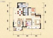 藏珑华府3室2厅1卫89平方米户型图