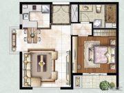雨润北海湾1室1厅1卫81平方米户型图