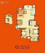 美好汇邻湾3室2厅2卫100平方米户型图