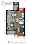 泽信加州公馆2室2厅1卫98平方米户型图