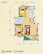 弘乐府・公园1号2室2厅1卫75平方米户型图