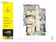 阳光100凤凰街3室2厅1卫98平方米户型图