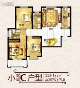 建城西府3室2厅2卫113--123平方米户型图